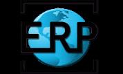 logotipo del rincon practico bola del mundo color azul y letras e r p
