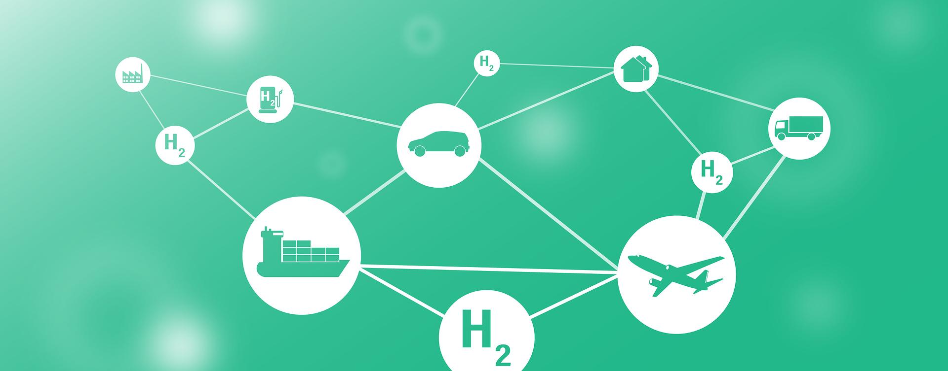 nodos uniendo el hidrógeno con diferentes medios de transporte, con fondo verde. ¿es realmente ecológico el hidrogeno?
