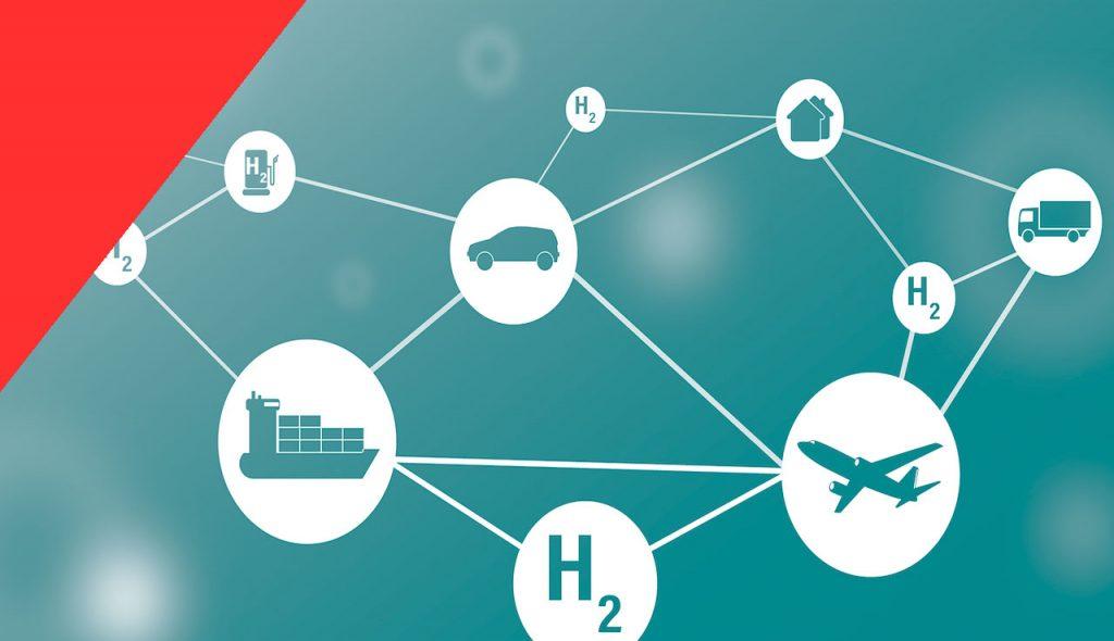 nodos uniendo el hidrogeno con diferentes vehículos